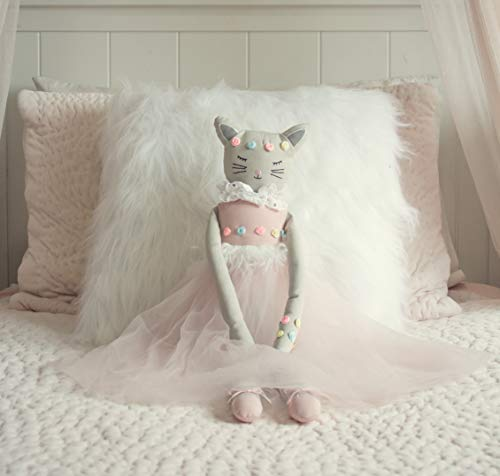 Inspired by Jewel Poppy The Cat - Handmade 24.8-Inch Plush Doll with Ballerina Tutu Outfit - Pretty Stuffed Toy Surprise Gift for a Little Princess Age 3+ - Soft Plushie for Hugs, Cuddle and Comfort