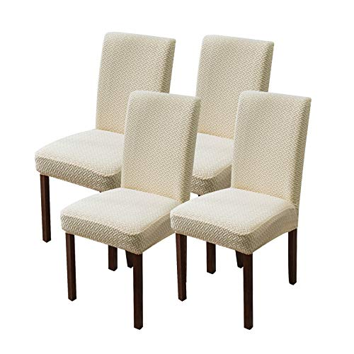 Genina Chair Covers for Dining Room Set of 4 Chair Covers Dining Chair Slipcovers Stretch Kitchen Parsons Chair Covers,Beige