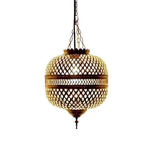 Orientalische Pendelleuchte Lampe Messing H40cm Gold Marokkanische Design Deckenleuchte Indoor Leuchte LED hängend Vintage Asiatisch Indisch Handgemacht