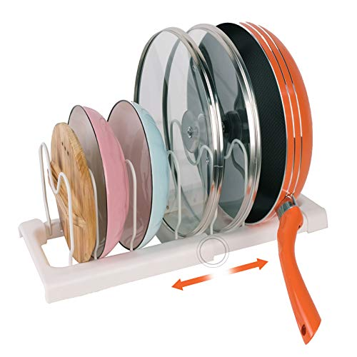 HomeMagic Soporte para sartenes, ollas y Tapas – Organizador Ajustable para Sartenes con Capacidad para 7 Sartenes y Tapas para Utensilios de Cocina y Almacenamiento (02)