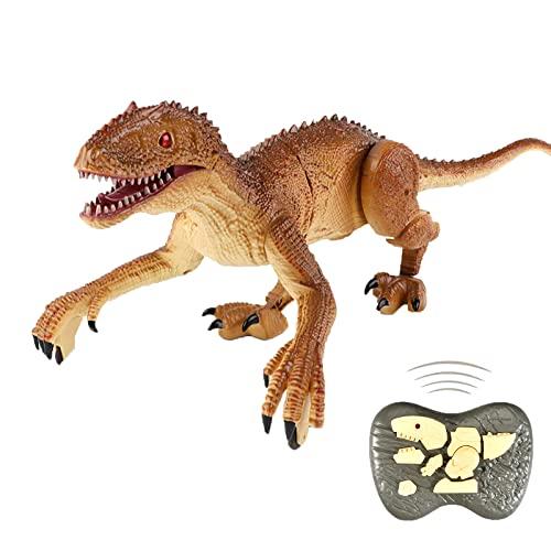 FLY FLQ Juguetes de Dinosaurios a Control Remoto, Velociraptor para Caminar a Control Remoto con Luz LED y Rugido, Juguetes de Dinosaurios de Radio Robotizada,Brown