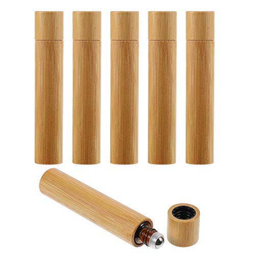 PIXNOR 6pcs Glass Roller Bottles Empty Natural Bamboo Refillable Roll on Bottles Rollerball Bottle for Essential Oil Perfume 10ml