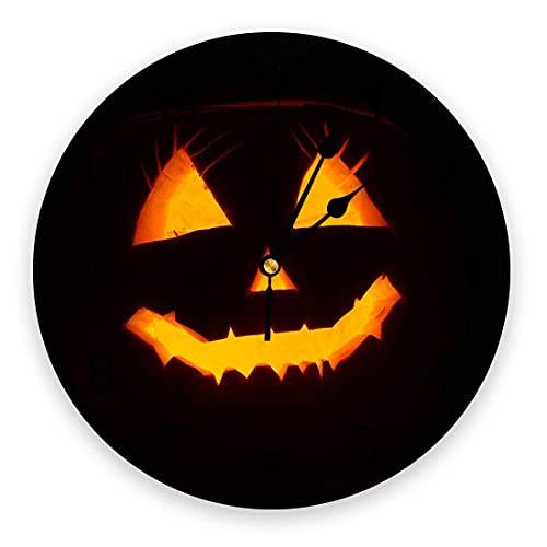 Reloj de Pared de PVC Redondo, Feliz Halloween Terror Calabaza Linterna Expresión Reloj de decoración con Pilas de Cuarzo silencioso Negro para Cocina Sala de Estar Dormitorio Oficina