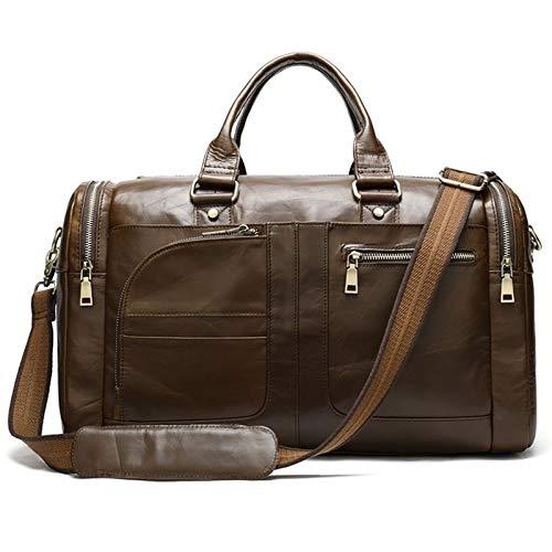 Jklt Large-capacity Luggage Bag Business Men's Travel Bag Genuine Leather Duffle Bag Overnight Bag Leather Travel Bag Luggage (Color : Coffee, Size : 44x28x20cm)