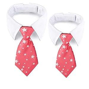 GCIYAEN Dog Necktie Cat Neck Tie with Adjustable White Collars Formal Classy for Pet Birthday Gift Wedding Valentine Costumes Accessories