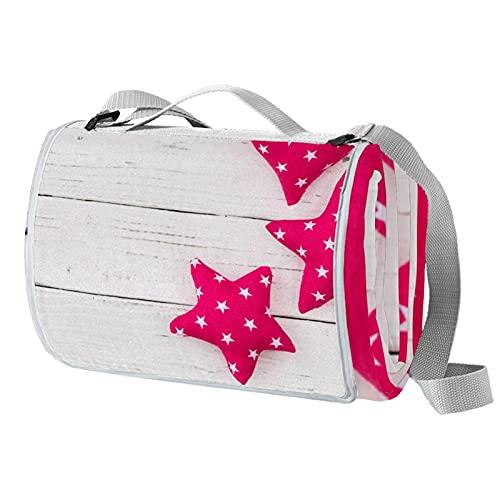Anmarco Romantische Picknickdecke mit Herz-Stern, wasserdicht, praktische Picknick-Matte, Tragetasche für Strand, Camping, Wandern, faltbar