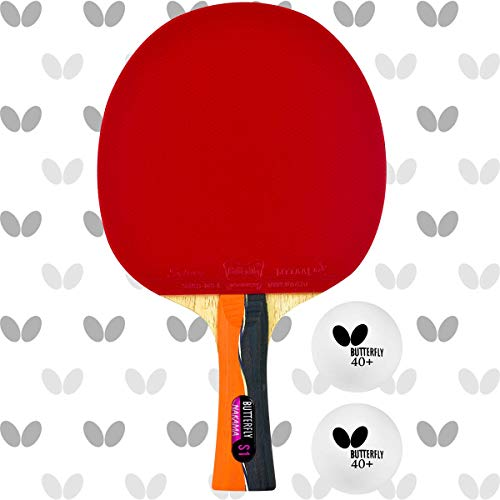 Butterfly Nakama S-1 Table Tennis Racket – Professional ITTF Approved Ping Pong Paddle – Sriver Rubber – Carbon Ping Pong Paddle – 2 Ping Pong Balls Included
