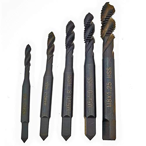BQKKWIN 5 Pcs M3 M4 M5 M6 M8 Titanium Coated HSS Spiral Drill Flute Metric Taps Set (Black)