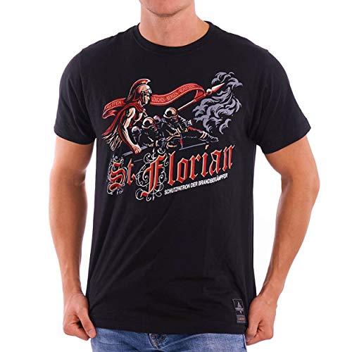 Heiliger Florian Schutzpatron   Feuerwehr T-Shirt Männer als tolle Geschenkidee aus Fein-Jersey Farbe schwarz, Größe:M