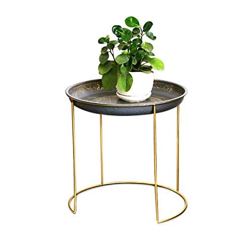 HYY-YY Modern Wrought Iron Side, Simple Bedside Table Bedside Mini Coffee Table, Wrought Iron Flower Stand Small table