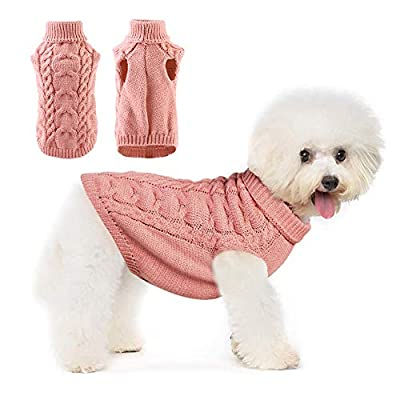 Pet Dog Sweater,Warm Autumn Winter Dog Jumpers Dog Hoddies,Pet Cotton Coat Clothes for Puppy Small Medium Dog (XL, Dark Pink)