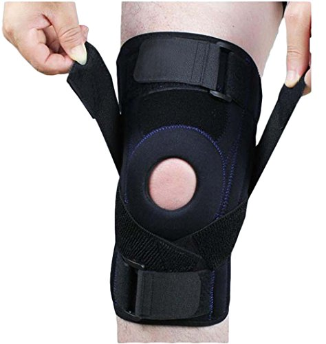 Jadedragon Knee Brace with Dual Side Stabilizer & Open Patella- Best Support for ACL, Meniscus Tear, Arthritis and Injury Recovery Comfortable Knee Support for Men and Women 1 Year Warranty (Black, L)
