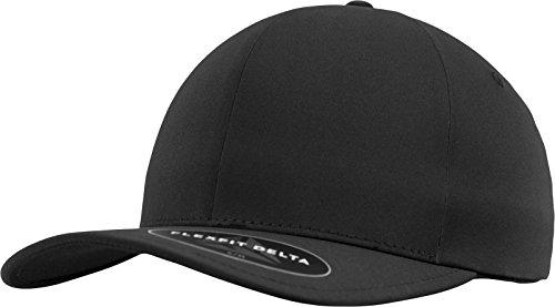 Flexfit Delta Baseball Cap, Unisex Basecap aus Polyester für Damen und Herren, ohne Naht, wasserabweisend, black, S/M