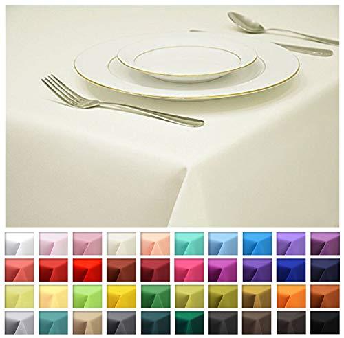 Rollmayer Tischdecke Tischtuch Tischläufer Tischwäsche Gastronomie Kollektion Vivid (Ecru 2, 140x280cm) Uni einfarbig pflegeleicht waschbar 40 Farben