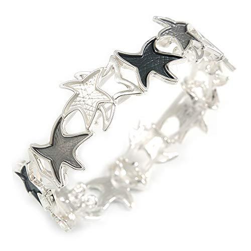 Avalaya Grey/White Enamel Starfish Flex Bracelet in Silver Tone - 20cm Long