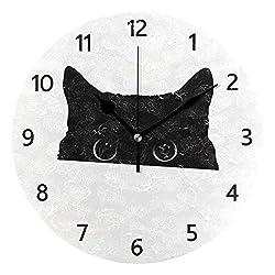 MERRYSUGAR Black Cat White Wall Clock Silent Non Ticking Digital Round Clock Desk Clock for Home Kitchen Office School Home Decor 9 Inch