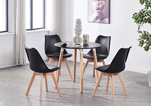 Life Interiors: Lorenzo Chair & Black Halo Round Table Dining Set   SET OF...