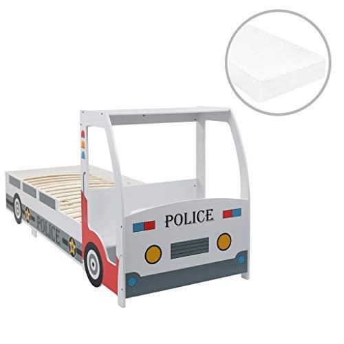 mewmewcat Polizeiauto-Kinderbett mit Memory-Schaum-Matratze 90×200 cm