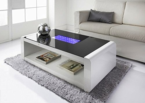 LED Coffee Table White High Gloss with Black Glass