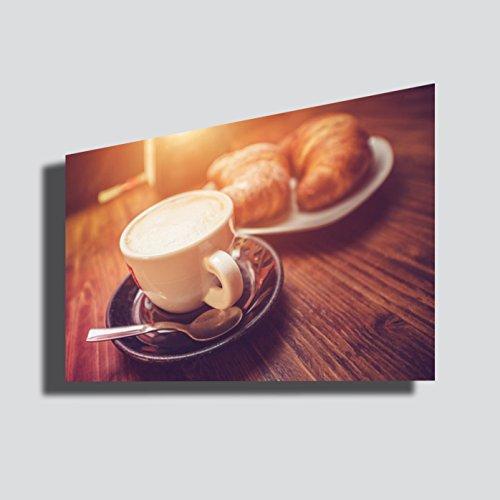 Cuadro moderno de café, 50 x 70 cm, café, capuchino, bar, cafetería, desayuno, impresión sobre lienzo, cuadros modernos para decoración de cocina