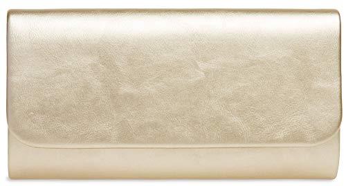 CASPAR TA404 Damen Metallic Baguette Clutch Tasche Abendtasche, Farbe:champagner, Größe:One Size
