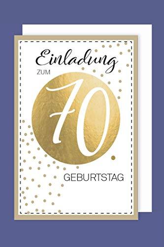 AvanCarte Einladungskarte 70 Geburtstag 5er Set Golddruck Punkte 5 Karten 15x11cm
