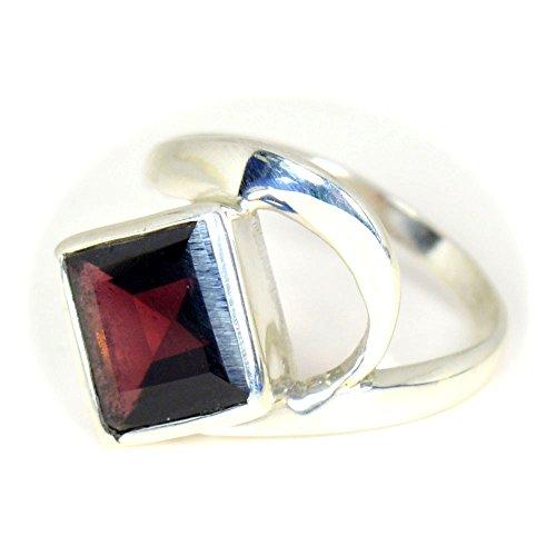 caratyogi quadratisch rot Fancy Granat Ring Sterling Silber Gr. Fernmeldeleitung für Herren - 63 (20.1)
