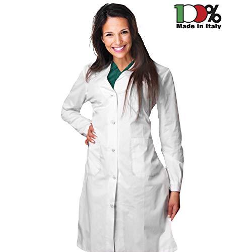 AIESI® Bata de Laboratorio Medico para Mujer blanco de algodón 100% sanforizado MADE IN ITALY talla 54