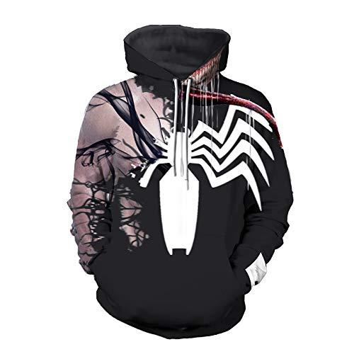 Cosplay Venom Spiderman Felpe Pullover Felpe Bambino Adulti Stampa 3D Antivento Costumi Giacca Casual per Il Compleanno Regalo di Natale,C-Medium