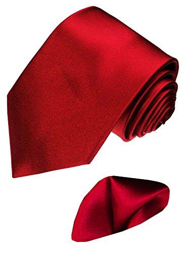 LORENZO CANA - Marken Set aus 100% Seide : uni rote bordaux Luxus Krawatte mit Einstecktuch aus Seidensatin - 8445001
