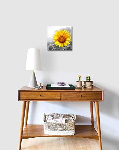 Lpwart Sunflower Canvas Wall Art Bathroom Decor Black And White Flower Wall Decor Yellow Sunflower Smile Picture Prints For Girls Kids Bedroom Framed Artwork Easy To Hang 14 X14 Home Decor Buy Online