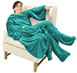 Catalonia Wearable Fleece Blanket with Sleeves and Foot Pockets for Adult Women Men, Micro Plush Comfy Wrap Sleeved Throw Blanket Robe Large, Green