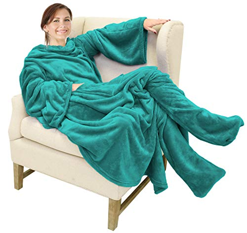 Catalonia Wearable Fleece Blanket with Sleeves and Foot Pockets for Adult Women Men,Micro Plush...