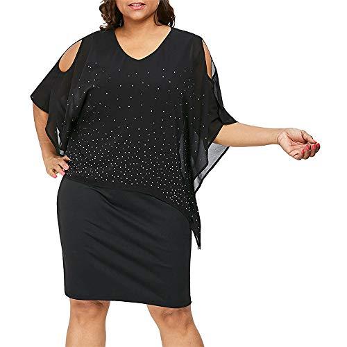 Dicomi Minikleid Damen Plus Size Solide Kalte Schulter Figurbetontes Kleid Überlagerung Asymmetrische Diamanten Kleid Partykleid Arbeitskleid Kostümfreizeitkleid Ausgehkleider für Damen Schwarz 3XL