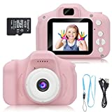 DDGG Kids Digital Camera, 1080P FHD Digital Video Camera for Kids with 2 Inch IPS Screen and 16GB SD Card, Rechargeable Camera for 3-10 Years Boys Girls(Pink)