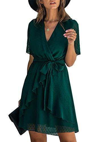 BTFBM Women Fashion Faux Wrap Swiss Dot V-Neck Short Sleeve High Waist A-Line Ruffle Hem Plain Belt Short Dress (Dark Green, Large)