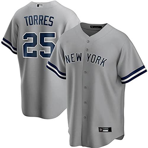 GYN MLB Yankees Jersey #2 Torres Baseball Fan Jersey Ropa Deportiva, Camisa Transpirable de Verano para Hombres y Mujeres Camiseta de Manga Corta,Gray Fans,3XL