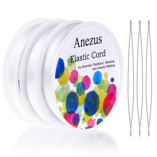 Stretchy String for Bracelets, Anezus 3 Rolls Elastic String Jewelry Bead Cord with 3pcs Large Eye Beading Needles for Pony Seed Beads, Bracelets and Jewelry Making