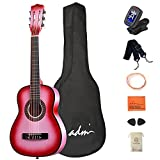 ADM Beginner Acoustic Classical Guitar 30 Inch Nylon Strings Wooden Guitar Bundle Kit for Kids Students with Carrying Bag & Accessories, Pink