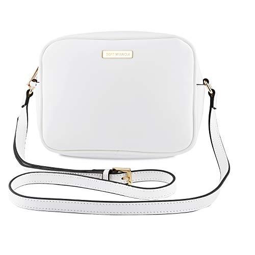 SEPT MIRACLE Lightweight Medium Women Crossbody Bag PU Leather Shoulder Bag Tote Bag Ladies Girls Purse (Pure White)