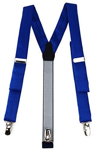 TigerTie schmaler Unisex Hosenträger in Y-Form mit 3 extra starken Clips - Farbe in dunkles royalblau einfarbig Uni - hochwertige Verarbeitung