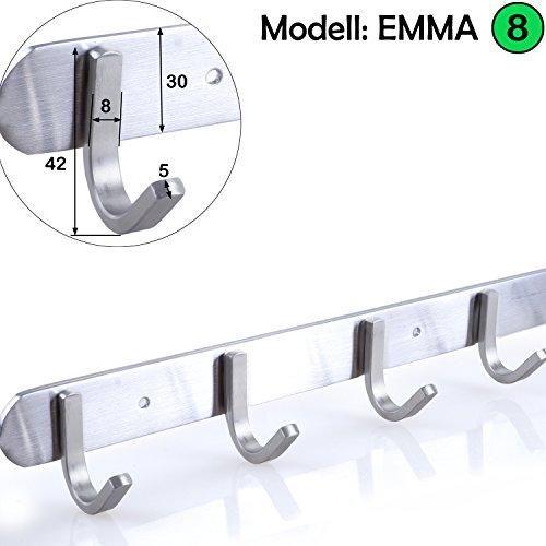 Hakenleiste Kleiderhaken EDELSTAHL gebürstet Garderobenleiste Garderobenhaken mit 1/4/6/8/10 Haken Wandhaken Wandgarderobe, Länge wählbar: 10 Haken(L: 725mm) Modell:EMMA