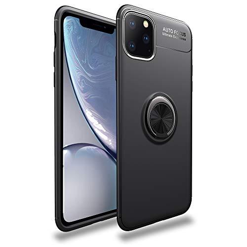 NALIA Ring Hülle kompatibel mit iPhone 11 Pro Max, Silikon Handyhülle mit 360 Grad Finger-Halter für magnetische KFZ-Halterung, Schutzhülle Cover Phone Case Handy-Tasche Etui Bumper, Farbe:Schwarz