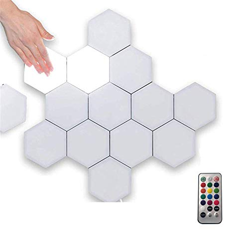 Remote Control Hexagonal Wall Colorful Light, Modular Touch Sensitive Lights with USB Power, Creative Geometry Assembly LED Night Light Suitable for Iiving Room, Bedrooms, DIY Lovers, Gifts (10)