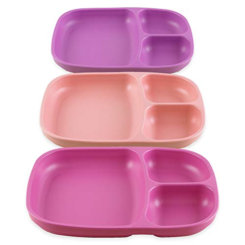 Re-Play Set of 3 - Made in the USA Deep Divided Heavy Duty Dining Plates with 3 Compartments for All Ages - Purple, Blush, Bright Pink (Princess)