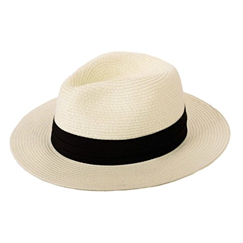Anycosy Panama Straw Hats,Womens Sun Hat Summer Wide Brim Floppy Fedora Beach Cap UPF50+