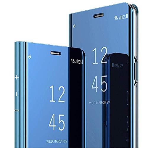 ompatibel mit Huawei Honor 10 Hülle, Handy Schutzhülle für Huawei Honor 10 Spiegel Hülle Flip Folio Case [Standfunktion] Dünn Clear View PC Plastik Anti-Scratch Hard Cover (Blau, Huawei Honor 10)