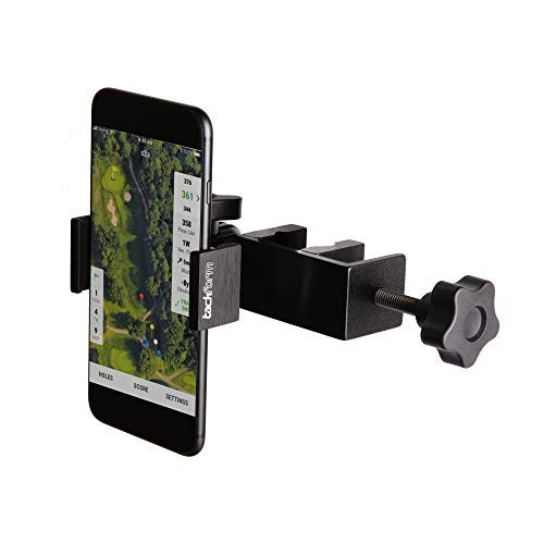 "Enduro Golf Cart Mount for Phone and SkyCaddie SX500 - TACKFORM [Enduro Series] - Rock Solid All-Metal Holder for Phones and GPS up to 3.4"" Wide. Industrial Spring Grip."