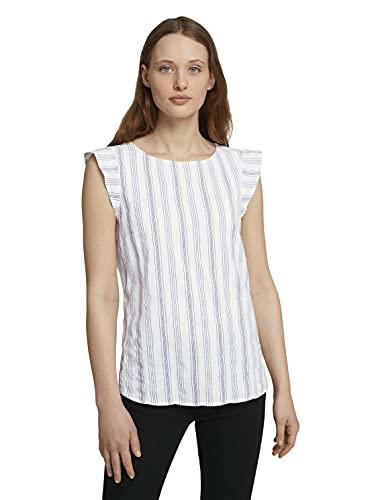 TOM TAILOR Denim Damen 1024992 Basic Bluse, White Blue Vertical (25908), L