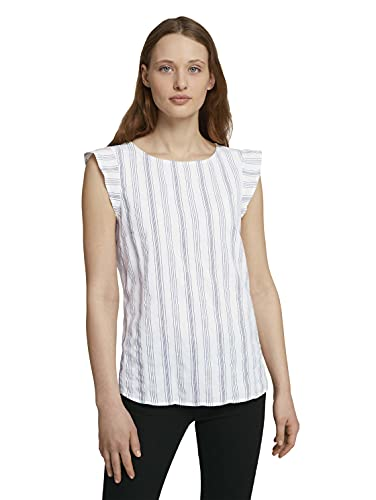 TOM TAILOR Denim 1024992 Basic Blusas, Blanco Azul Vertical (25908), XX-Large para Mujer